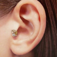 Rose gold plated Mickey w/clear crystal Ear Cuff, Nose cuff, Tragus cuff,   Non Pierced Nose Ring, Cartilage, Fake piercing