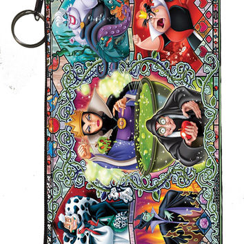 Disney's Villains (Evil Witch, Maleficent, Ursula, Queen of Hearts) Zipper Pouch