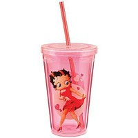 Betty Boop Hearts Acrylic Tumbler: Classic Cartoon Travel Beverage Holder