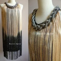 Glitter Fringe Flapper Charleston Art Deco Gatsby Ombre Chain Double Side Dress