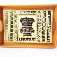 wood tray with handles vintage tribal boho chic