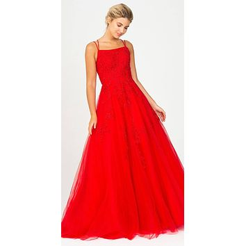 Red Long Prom Dress with Lace-Up Back