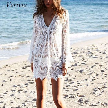 Vertvie  Summer White Lace Crochet Beach Tunic Women Beachwear Sexy V Neck Long Sleeve Hollow Out Bikini Cover Ups Sunscreen