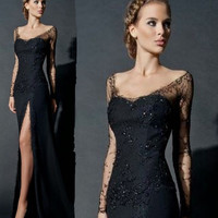 Sexy Black Prom Dress Slit Lace Long Sleeves Prom Dress Mermaid Beads Sequins Women Evening Gowns vestidos de fiesta