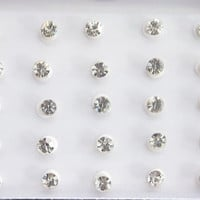 White Single Silver Rhinestones Bindis In One  Pack/ Indian India Bindis / Self Adhesive/ Fake Tragus Nose Stud/ Belly Dance Accessory