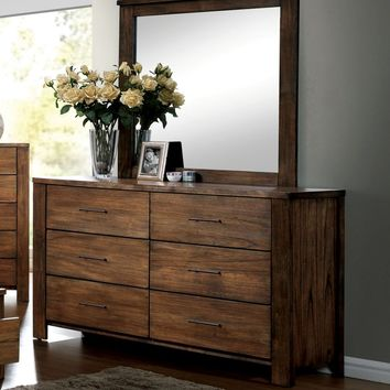 Widel Transitional 6-Drawer Dresser and Mirror in Oak