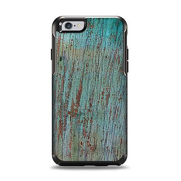 The Chipped Teal Paint on Aged Wood Apple iPhone 6 Otterbox Symmetry Case Skin Set