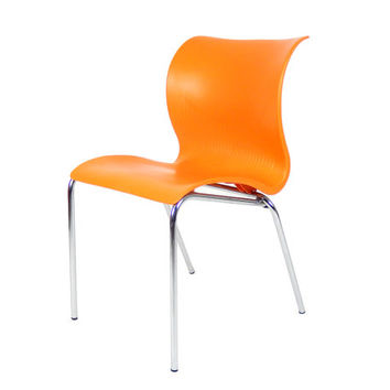 Mid Century Modern Orange Plastic Chair Made in Italy Italian Accent Chair Chrome Tube Chair Retro Orange Chair Mid Century Modern Furniture