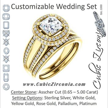 CZ Wedding Set, featuring The Deena engagement ring (Customizable Halo-style Asscher Cut with Under-halo & Ultrawide Band)