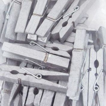 "Pack of 30 Silver Grey Wooden Clothespins - 1.875"" Long - DIY Wedding Signs"