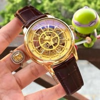 DCCK P003 Patek Philippe Geneve Automatic Machinery Hollow Genuine Leather Strap Watches Gold Maroon