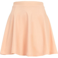 River Island Womens Light pink acid wash denim-look skater skirt