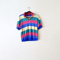 90s Red Yellow Blue Striped Shirt - Striped Polo Shirt Womens Polo Shirt Colorful Wome