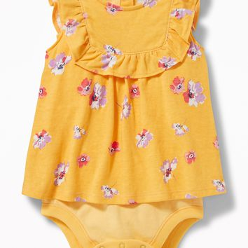 2-in-1 Sleeveless Ruffle-Trim Bodysuit for Baby |old-navy