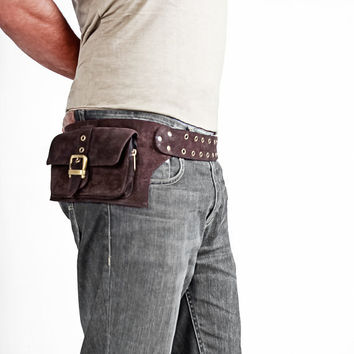 men leather bag in brown belt pouch hip bag by Shovavaleather