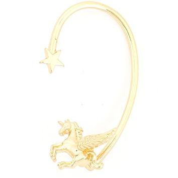 Flying Unicorn Pegasus Ear Cuff Metal Wrap Gold Tone Star Pony Winged Horse Earring CA43 Fashion Jewelry