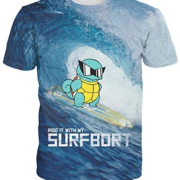 Ride It With My Squirtle T-Shirt Character  surfbort Sexy Women tee Summer Style Fashion Men T Shirt Top Plus S-6XL R2076Kawaii Pokemon go  AT_89_9