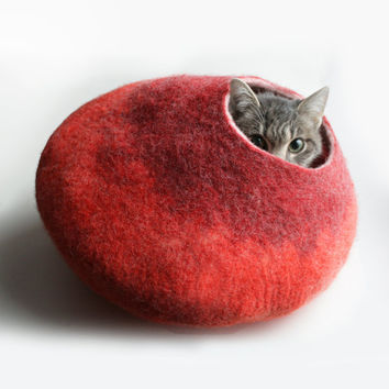 Cat Bed / Cave / House / Vessel - Hand Felted Wool - Warm Orange Red Bubble - Crisp Contemporary Design
