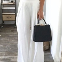 White High Waist Wide Leg Palazzo Pants