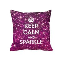 Keep Calm and Sparkle Glitter LookLike Pillows