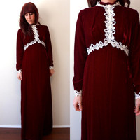 Oxblood Velvet and Lace 1960's 1970's Victorian Inspired Long Sleeve Maxi Dress