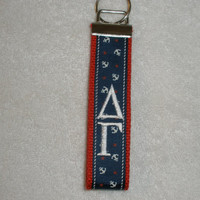 Delta Gamma Sorority (OFFICIAL LICENSED PRODUCT) Anchors- Monogrammed Key Fob Keychain Cotton Webbing Ribbon Wristlet