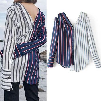 LMFMS9 Winter Stripes Women's Fashion Long Sleeve Tops Sexy Backless V-neck Shirt [39676248090]