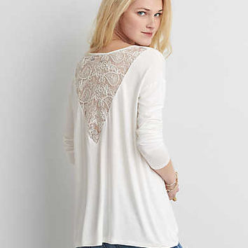 AEO Lace Back Jegging T-Shirt , Chalk