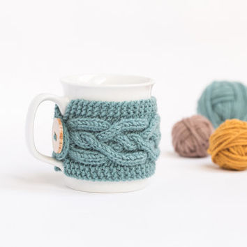 Cup Cozy in Azure, Knitted Mug Cozy, Coffee Cozy, Tea Cup Cozy, Handmade Wooden Button, Coffee Cozy Sleeve, Warmer, Fall, Autumn, Gift