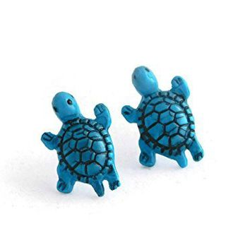 Teal Turtle Stud Earrings Hypoallergenic for Sensitive Ears