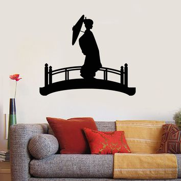 Vinyl Wall Decal Silhouette Geisha Woman Umbrella Bridge Japanese Art Stickers Mural Unique Gift (ig5086)