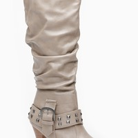 Bamboo Faux Leather Slouch Calf Length Taupe Heel Boot