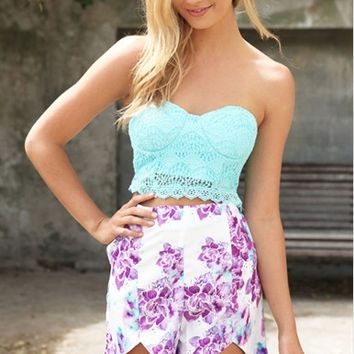 Lace Strapless Top