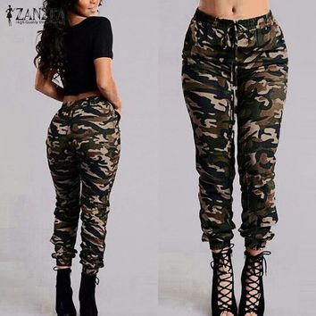 ZANZEA 2017 Camouflage Printed Pants Plus Size S-3XL Autumn Army Cargo Pants Women Trousers Military Elastic Waist Pants