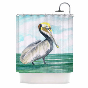 "Rosie Brown ""Pelican"" Coastal Watercolor Shower Curtain"