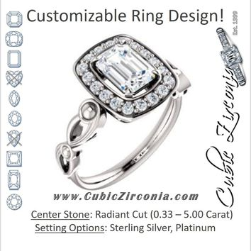 Cubic Zirconia Engagement Ring- The Deb (Customizable Radiant Cut Design with Large Halo, Fleur-de-lis Trellis and Bubbled Infinity Band)