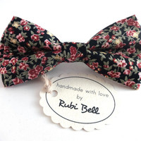 Bow Tie - floral bow tie - wedding bow tie - black bow tie with red and green flower pattern - man bow tie - men bow tie