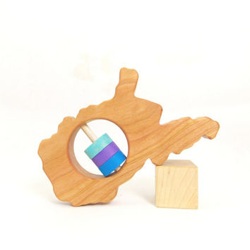 West Virginia Baby Rattle - Modern Wooden Baby Toy - Organic and Natural