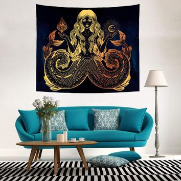 Vintage Renaissance Culture Chakra Meditative Wall Hanging Tapestry Hippie Indian Mystical Psychedelic Elephant Wolf Decor Paint