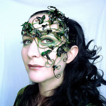 Green vine half mask with green ivy leaves. handmade