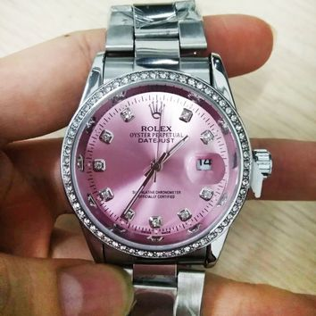Rolex Pink Women's Fashion New Watch Personality Diamond Roud Shell Quartz Personality Watch Print Watch