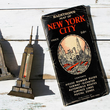 1959 Hagstrom's Map of New York City, Vintage Travel Souvenir Guide