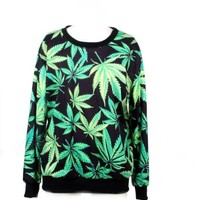 LoveLiness Womens Marijuana Leaf Print Sweatshirt Sweaters Multicoloured