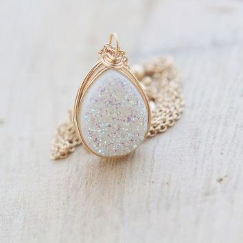 Druzy Teardrop Necklace - Confetti Cream