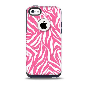 The Pink & White Vector Zebra Print Skin for the iPhone 5c OtterBox Commuter Case