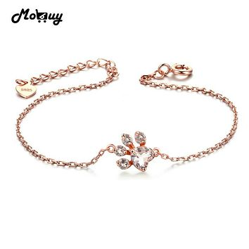 MoBuy MBHI005 Animal Clam Natrual Gemstone Rose Quartz Bracelets & Cuff 925 Sterling Silver Gold Plated Fine Jewelry For Women