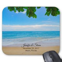 Tropical Beach Vacation Island Wedding Mouse Pad