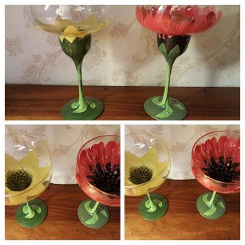 Hand-painted Pair of Frozen Drink Flower Glasses