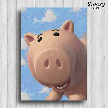 toy story print hamm disney watercolor toy story art