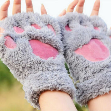 Fuzzy Gray Pink Paw Rave Gloves
